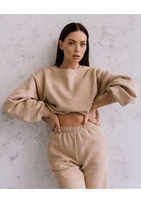 DOLLINA - Beżowa bluza z bawełny. Kolor: beżowy. Materiał: bawełna
