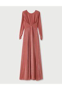 Liu Jo - LIU JO - Różowa sukienka maxi. Typ kołnierza: dekolt na plecach. Kolor: różowy, wielokolorowy, fioletowy. Materiał: materiał. Długość rękawa: długi rękaw. Styl: elegancki. Długość: maxi