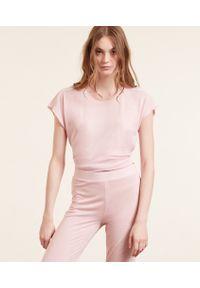 Warm Day Top Z Krótkimi Rękawami - Xs - Pudrowy Róż - Etam. Kolor: różowy. Materiał: włókno, wiskoza, koronka, materiał. Długość: krótkie. Wzór: koronka, aplikacja