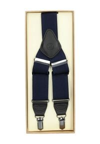 Lancerto - Szelki Granatowe. Kolor: niebieski. Materiał: syntetyk, skóra, materiał, elastan