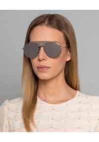 Dior - DIOR - Okulary Revoluti2. Kolor: srebrny. Materiał: materiał. Wzór: aplikacja