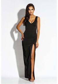 Czarna sukienka na wesele Dursi wizytowa, maxi