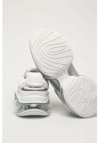 Białe sneakersy Karl Lagerfeld na średnim obcasie, z okrągłym noskiem