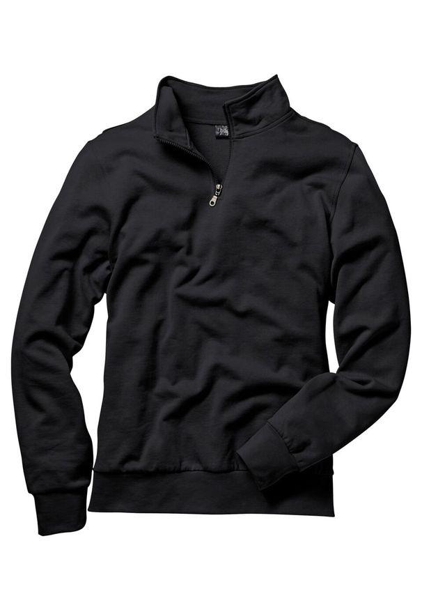 Bluza ze stójką bonprix czarny. Okazja: na co dzień. Typ kołnierza: kołnierzyk stójkowy. Kolor: czarny. Styl: casual
