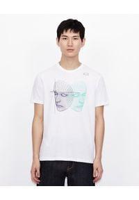 Armani Exchange - ARMANI EXCHANGE - Biały T-shirt z nadrukiem. Okazja: na co dzień. Kolor: czarny. Materiał: jeans, bawełna. Wzór: nadruk. Styl: casual, klasyczny