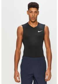 Nike - T-shirt. Kolor: czarny. Materiał: tkanina, dzianina, skóra, włókno