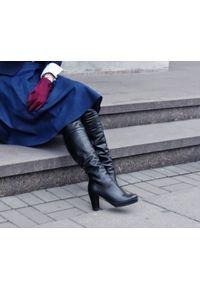 Czarne kozaki Zapato z cholewką za kolano, wąskie