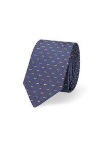 Lancerto - Krawat Granatowy Jodełka. Kolor: niebieski. Materiał: tkanina, mikrofibra, materiał. Wzór: jodełka. Styl: elegancki