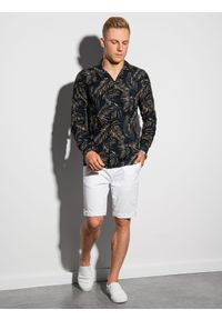 Ombre Clothing - Koszula męska z długim rękawem K571 - czarna/beżowa - XXL. Okazja: do pracy, na spotkanie biznesowe. Kolor: beżowy. Materiał: wiskoza. Długość rękawa: długi rękaw. Długość: długie. Wzór: kolorowy. Sezon: lato. Styl: wakacyjny, biznesowy
