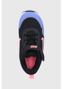 Czarne buty sportowe Nike Kids z okrągłym noskiem, z cholewką, na rzepy