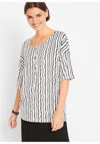 Bluzka shirtowa z guzikami, krótki rękaw bonprix czarno-biały w paski. Kolor: czarny. Materiał: materiał. Długość rękawa: krótki rękaw. Długość: krótkie. Wzór: paski