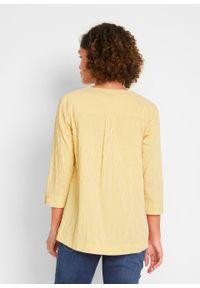 """Tunika z kreszowanego materiału """"bubble"""" bonprix żółty curry - biały w paski. Kolor: żółty. Materiał: materiał. Wzór: paski"""