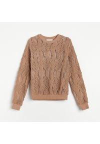 Reserved - Wzorzysta bluzka z ażurową wstawką - Beżowy. Kolor: beżowy. Wzór: ażurowy