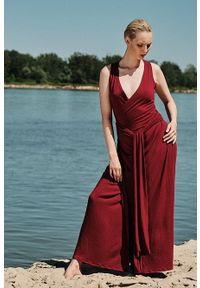 Czerwona sukienka Hultaj Polski kopertowa, na lato