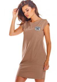 Infinite You - Bawełniana sukienka mini bombka z kieszeniami. Materiał: bawełna. Długość rękawa: krótki rękaw. Wzór: aplikacja. Typ sukienki: bombki. Długość: mini