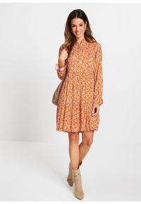 Pomarańczowa sukienka bonprix w kwiaty