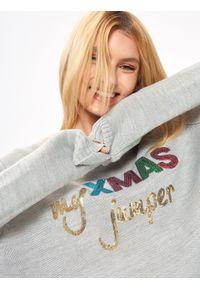 TROLL - świąteczny sweter damski. Kolor: szary. Materiał: dzianina, jeans. Długość: długie. Wzór: aplikacja. Sezon: jesień, zima. Styl: wizytowy