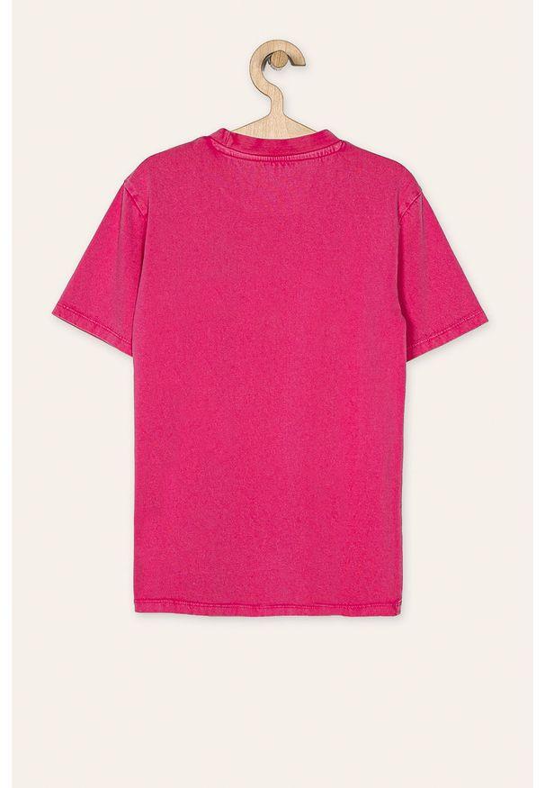 Różowy t-shirt Guess Jeans z aplikacjami, casualowy, z okrągłym kołnierzem, na co dzień