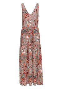 Długa sukienka z dżerseju bonprix czerwony paisley. Typ kołnierza: dekolt w serek. Kolor: czerwony. Materiał: jersey. Wzór: paisley. Długość: maxi