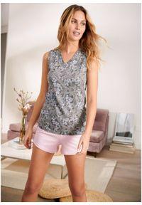 Piżama z krótkimi spodniami bonprix kryształowy jasnoróżowy - dymny szary z nadrukiem