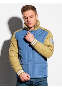 Ombre Clothing - Kurtka męska wiosenna C448 - niebieska - L. Typ kołnierza: kołnierzyk stójkowy. Kolor: niebieski. Materiał: poliester. Sezon: wiosna