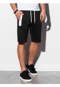 Ombre Clothing - Krótkie spodenki męskie dresowe W239 - czarne - XXL. Okazja: na co dzień. Kolor: czarny. Materiał: dresówka. Długość: krótkie. Wzór: nadruk. Sezon: wiosna, lato. Styl: casual, klasyczny