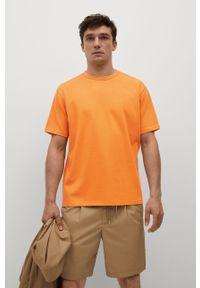 Mango Man - T-shirt bawełniany Anouk. Kolor: pomarańczowy. Materiał: bawełna. Wzór: gładki