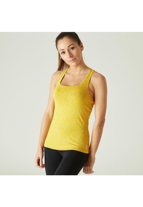 NYAMBA - Koszulka bez rękawów fitness. Kolor: pomarańczowy. Materiał: elastan, poliester, materiał, lyocell, bawełna. Długość rękawa: bez rękawów. Sport: fitness