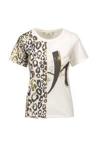 Deha - T-shirt DEHA HYPE. Okazja: na co dzień. Kolor: beżowy. Materiał: włókno, bawełna. Długość rękawa: krótki rękaw. Długość: krótkie. Wzór: nadruk. Styl: casual