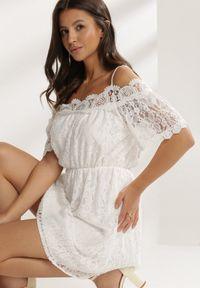 Renee - Biała Sukienka Adramara. Kolor: biały