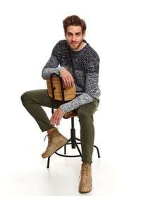 TOP SECRET - Sweter długi rękaw męski. Kolor: szary. Materiał: dzianina. Długość rękawa: długi rękaw. Długość: długie. Styl: klasyczny