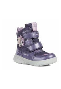 Fioletowe buty zimowe Geox z okrągłym noskiem, na zimę, na rzepy, z cholewką
