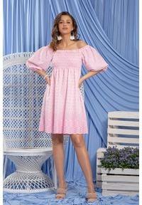 Fobya - Różowa Bawełniana Sukienka w Hiszpańskim Klimacie. Kolor: różowy. Materiał: bawełna