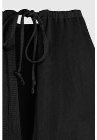 Czarna sukienka AllSaints z okrągłym kołnierzem, midi