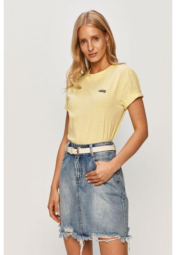 Żółta bluzka Vans casualowa, z okrągłym kołnierzem, na co dzień