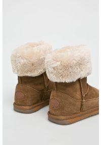 Brązowe buty zimowe EMU Australia z cholewką, na zimę, z okrągłym noskiem