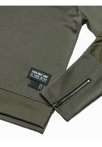 Brązowa bluza Ombre Clothing z kapturem, z aplikacjami