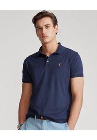 Ralph Lauren - RALPH LAUREN - Granatowa koszulka Custom Fit Soft Cotton. Okazja: na co dzień. Typ kołnierza: polo. Kolor: niebieski. Materiał: prążkowany. Wzór: haft, kolorowy. Styl: casual