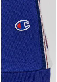 Champion - Bluza. Kolor: niebieski. Materiał: dzianina. Długość rękawa: raglanowy rękaw. Wzór: gładki, aplikacja