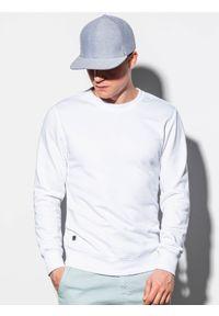 Ombre Clothing - Bluza męska bez kaptura B978 - biała - XXL. Okazja: na co dzień. Typ kołnierza: bez kaptura. Kolor: biały. Materiał: poliester, materiał, bawełna. Styl: klasyczny, casual