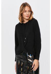Czarny sweter Guess Jeans długi, z kapturem