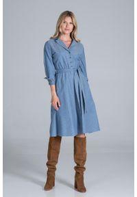 Figl - Rozkloszowana Sukienka na Guziki z Żakietowym Kołnierzykiem - Niebieska. Kolor: niebieski. Materiał: poliester, wiskoza, elastan