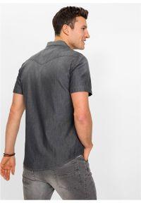 Koszula dżinsowa, krótki rękaw, Slim Fit bonprix szary denim. Kolor: szary. Materiał: denim. Długość rękawa: krótki rękaw. Długość: krótkie