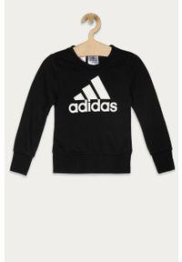 Czarna bluza Adidas z nadrukiem, bez kaptura, casualowa, na co dzień