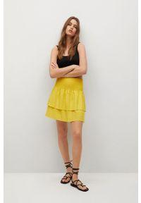 mango - Mango - Spódnica LACI. Stan: podwyższony. Kolor: żółty. Materiał: włókno