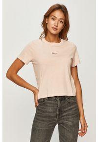 Różowa bluzka DKNY casualowa, na co dzień, z nadrukiem