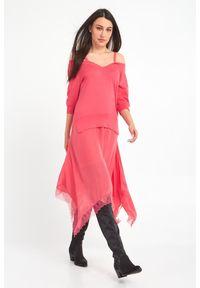 Sukienka TwinSet w koronkowe wzory, asymetryczna