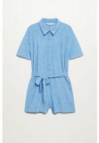 mango - Mango - Kombinezon BRASIL. Kolor: niebieski. Materiał: bawełna, materiał. Długość rękawa: krótki rękaw. Długość: krótkie
