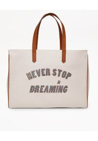 GOLDEN GOOSE - Beżowa torba shopper California. Kolor: beżowy. Wzór: napisy, kolorowy
