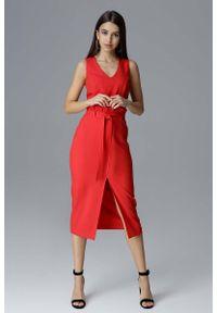 Figl - Czerwona Dopasowana Midi Sukienka Wizytowa za Kolano. Kolor: czerwony. Materiał: poliester. Styl: wizytowy. Długość: midi